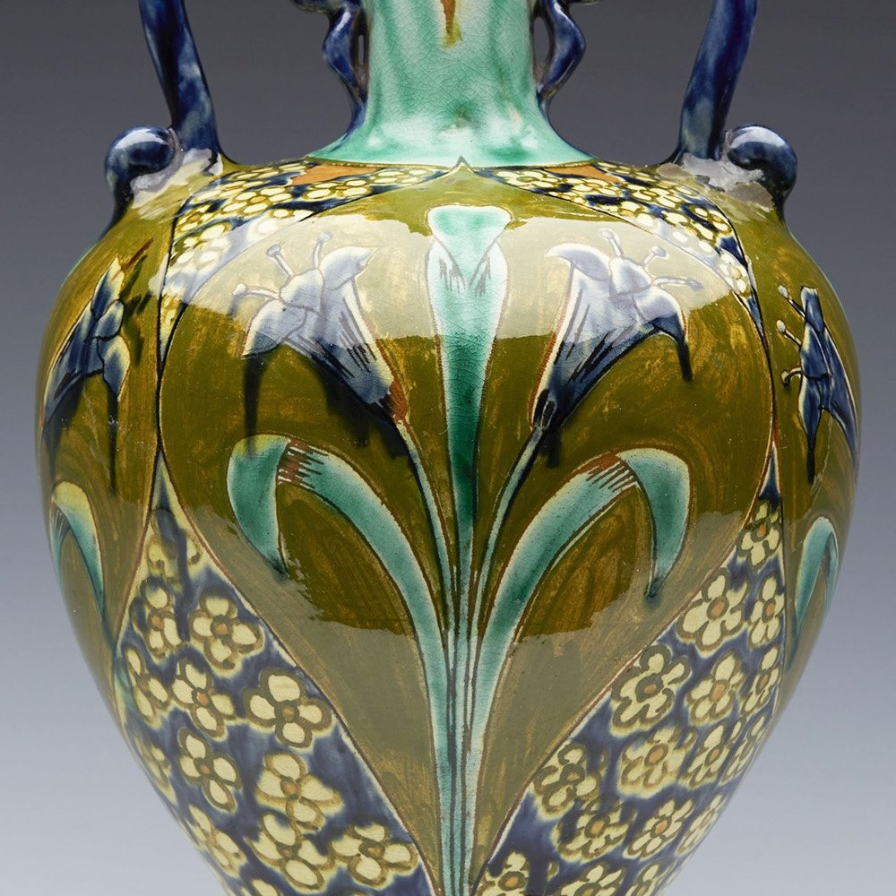 Superb Della Robbia Birkenhead Art Pottery Twin Handled Floral Vase c.1895