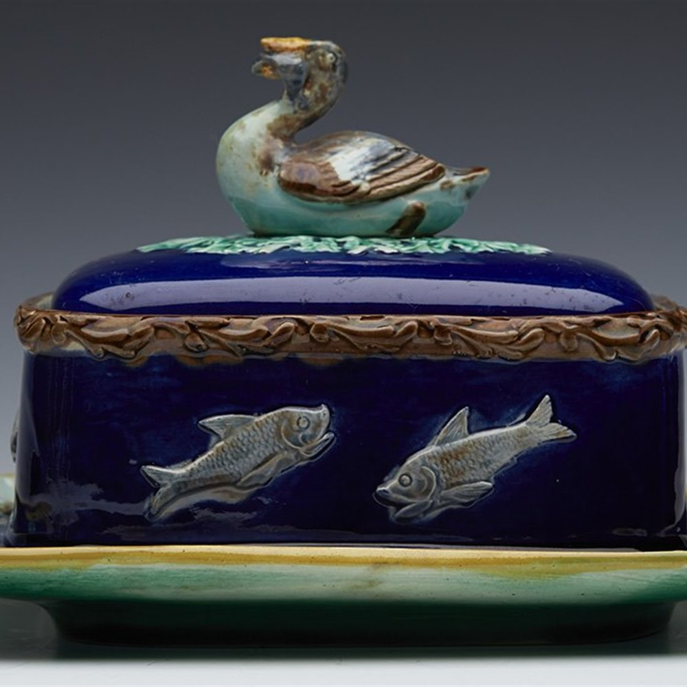 Rare Antique English Minton? Majolica Sardine Dish With Duck And Fish c.1865