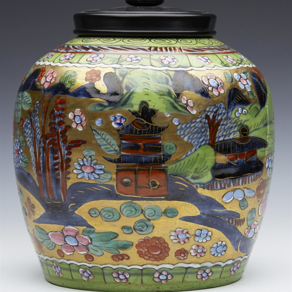 CHINESE POLYCHROME JAR 18TH C 18th Century
