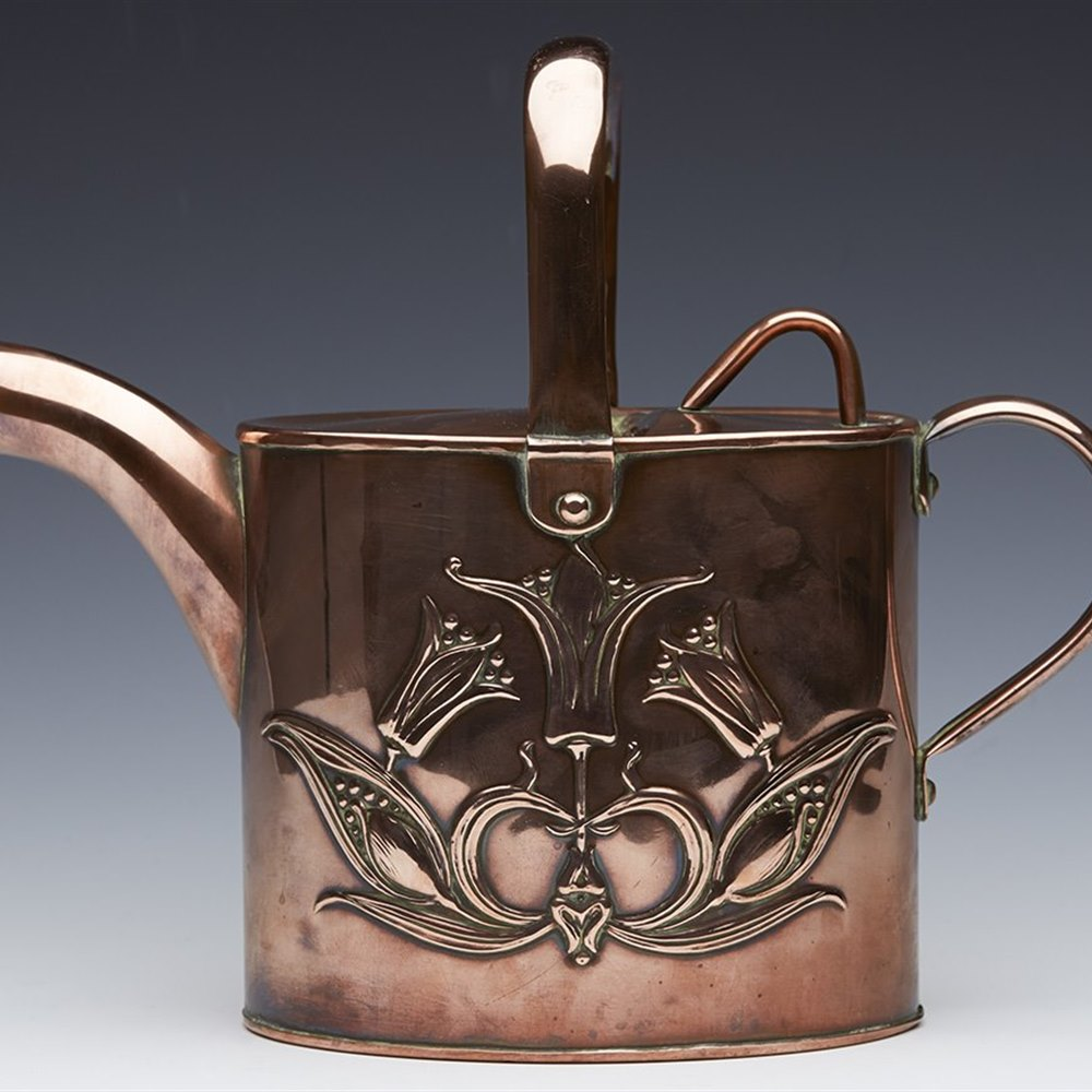 Stunning Art Nouveau Copper Embossed Watering Can Joseph Sankey c.1913