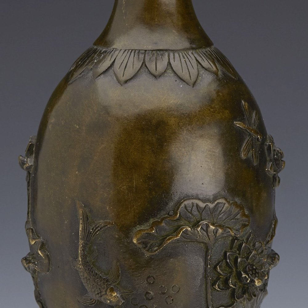 Stunning Antique Chinese Bronze Vase With Carp & Lotus Flowers 19th C.