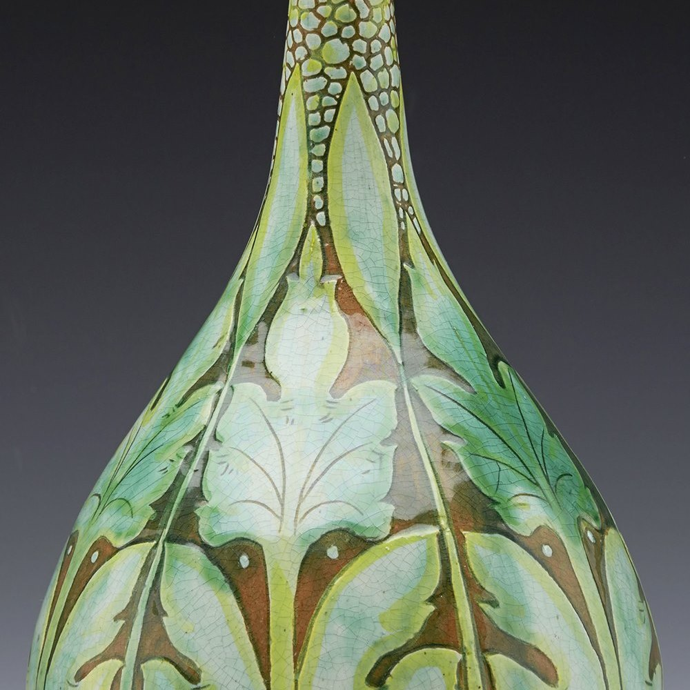 Stunning Della Robbia Birkenhead Art Pottery Bud Topped Vase c.1894 - 1901