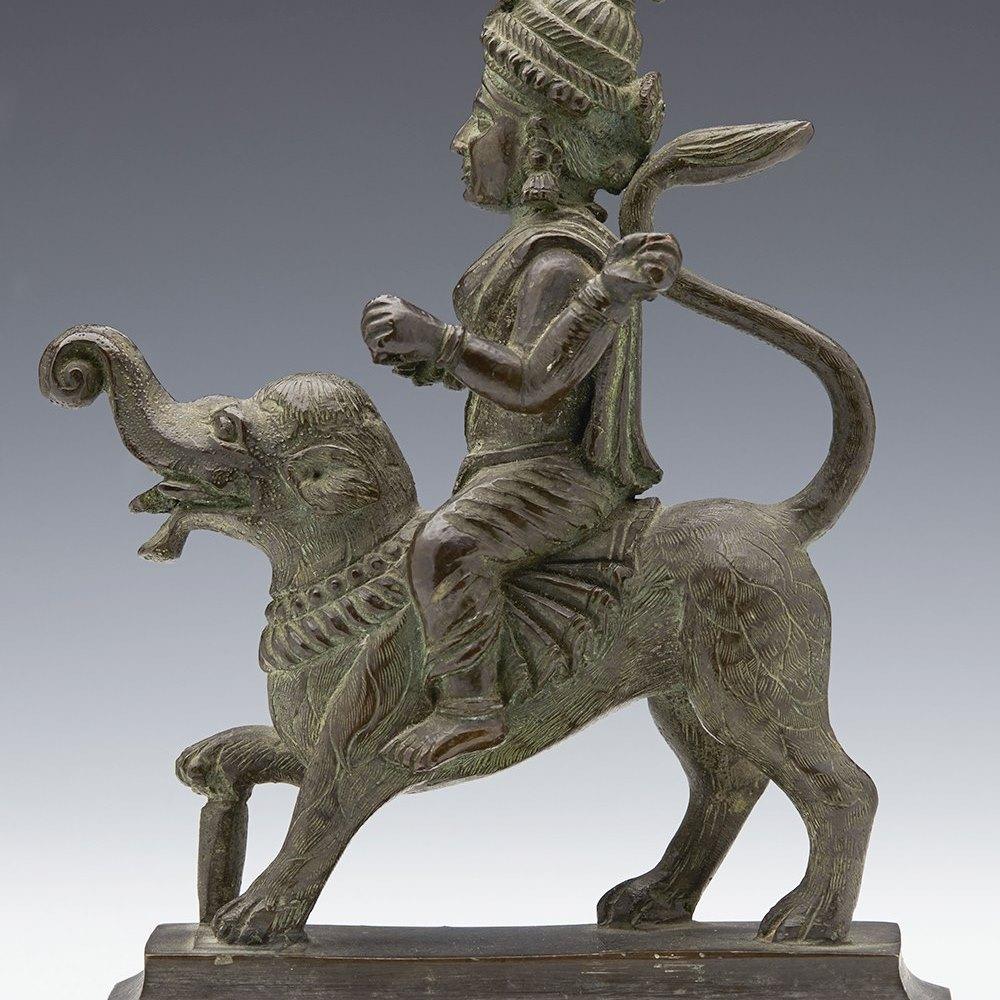 Superb Antique Indian Bronze Hindu God Riding An Elephant 19th C.