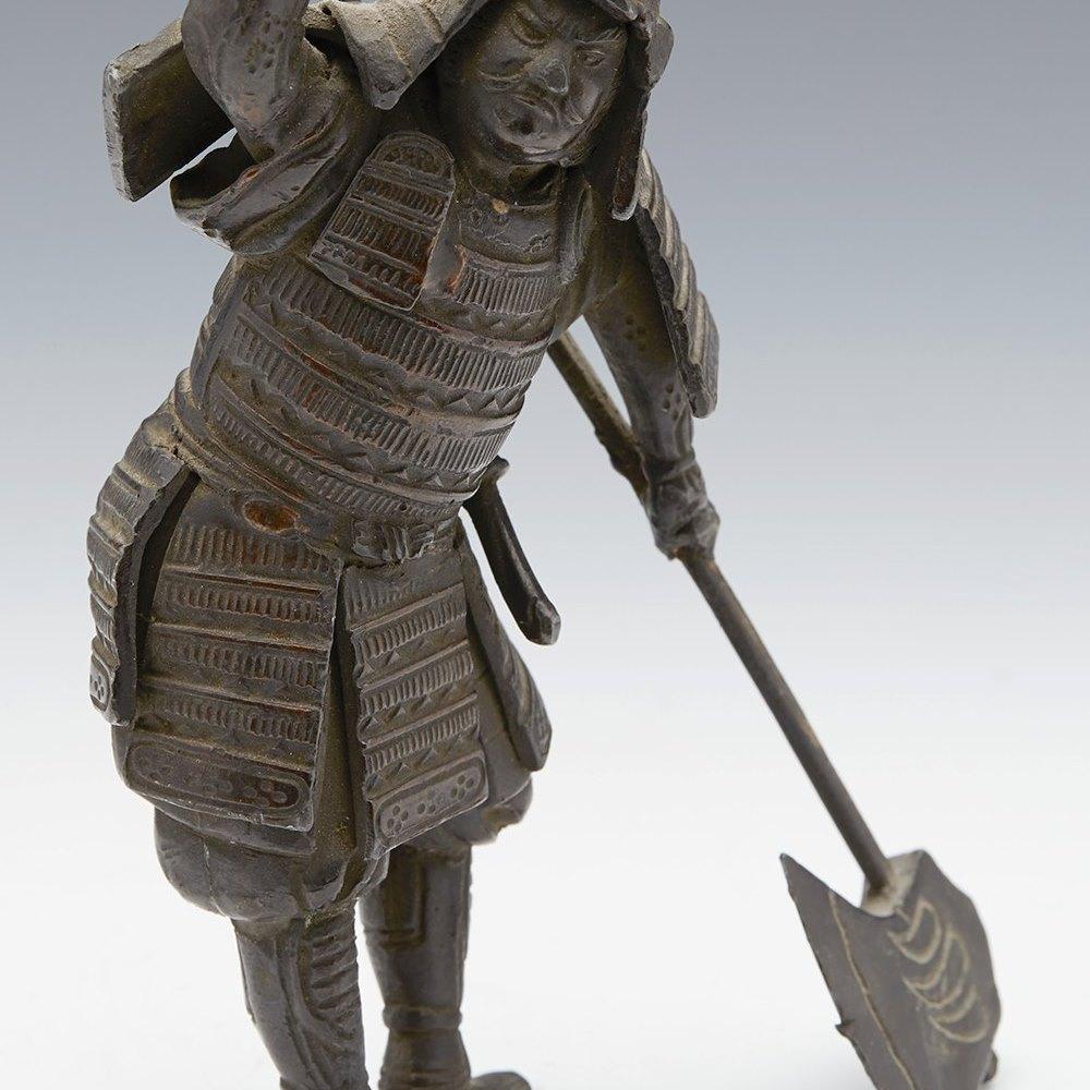 ANTIQUE JAPANESE MEIJI BRONZE FIGURE OF A SAMURAI WARRIOR 19TH C. Meiji period 1868 to 1912