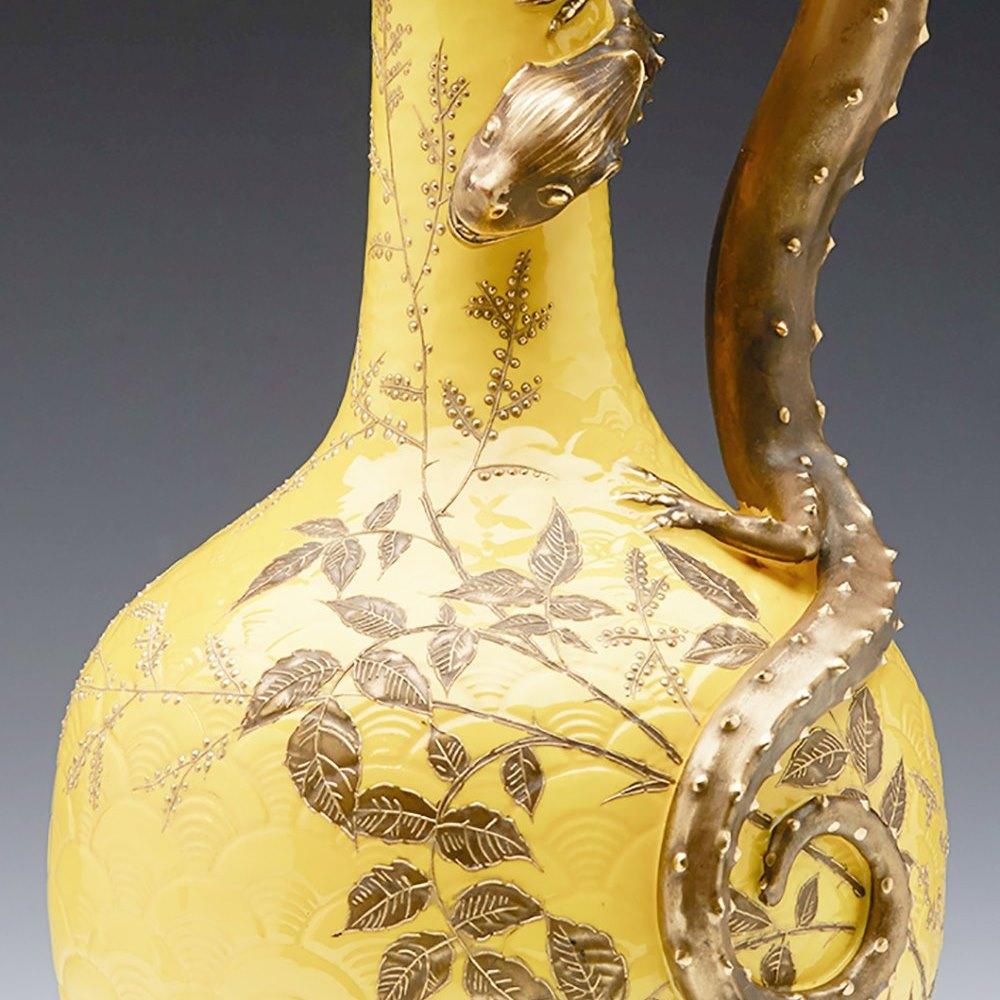 Stunning Antique Royal Worcester Dragon Mounted Ewer C.1875