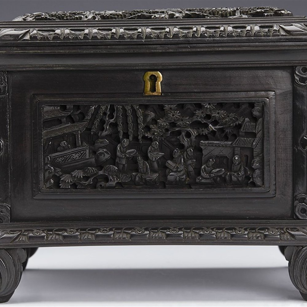 Rare Exceptional Antique Chinese Carved Ebony Casket With Figural Panels 19th C.