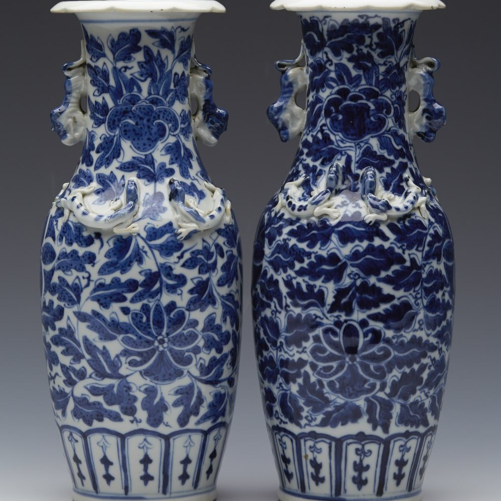 Stunning Pair Antique Chinese Floral Design Vases With Chilong & Dog Handles 19th C.