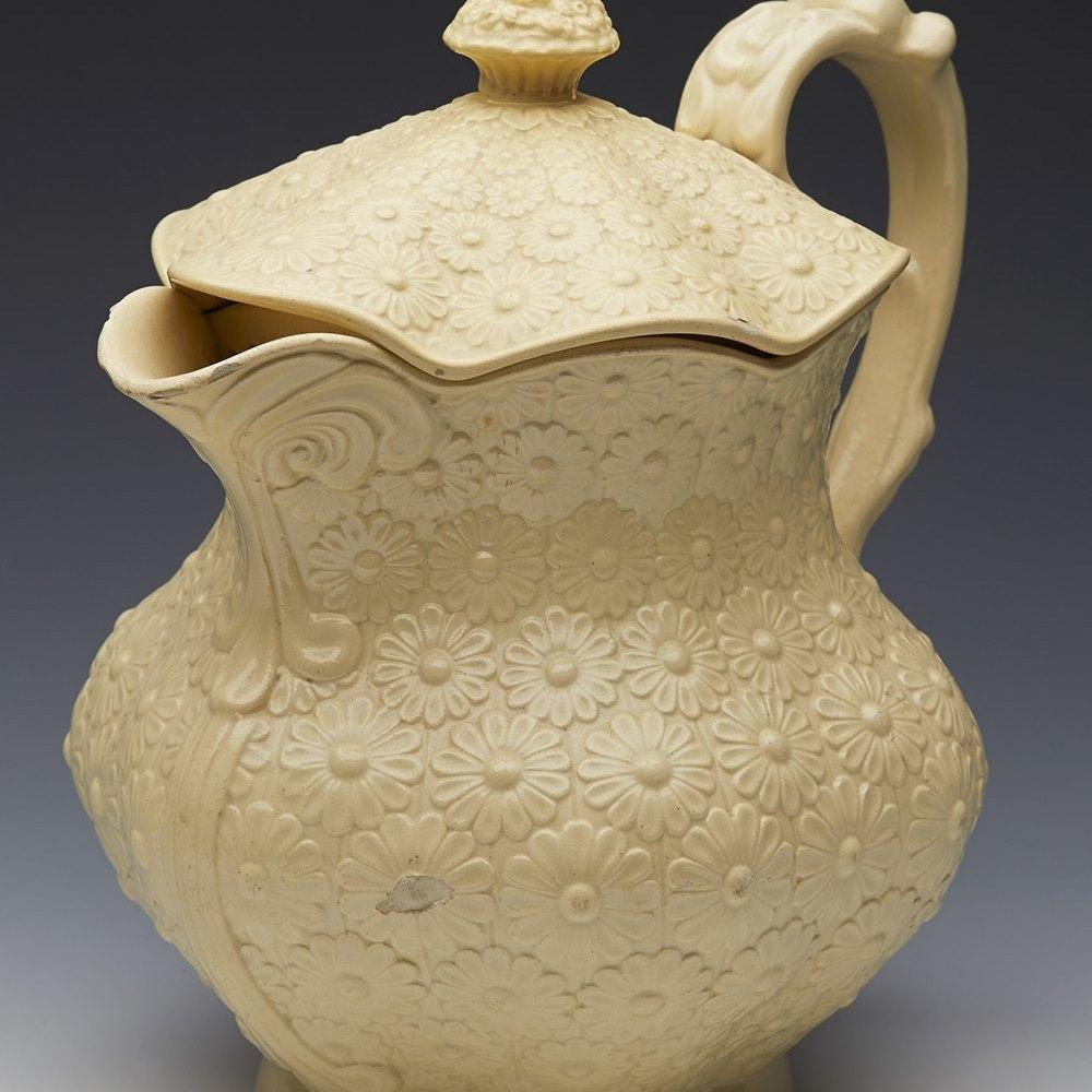 Rare Antique Leeds Don Pottery Floral Moulded Creamware