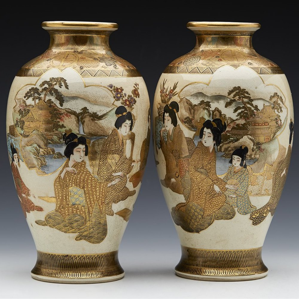 JAPANESE SATSUMA VASES MEIJI Meiji dating between 1868 and 1912