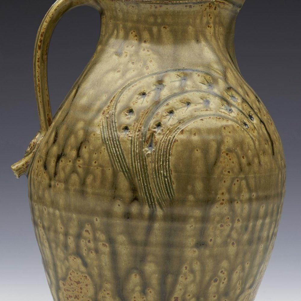 Stunning Studio Pottery Jug By David Melville With Trailed Glaze Designs 20th C.