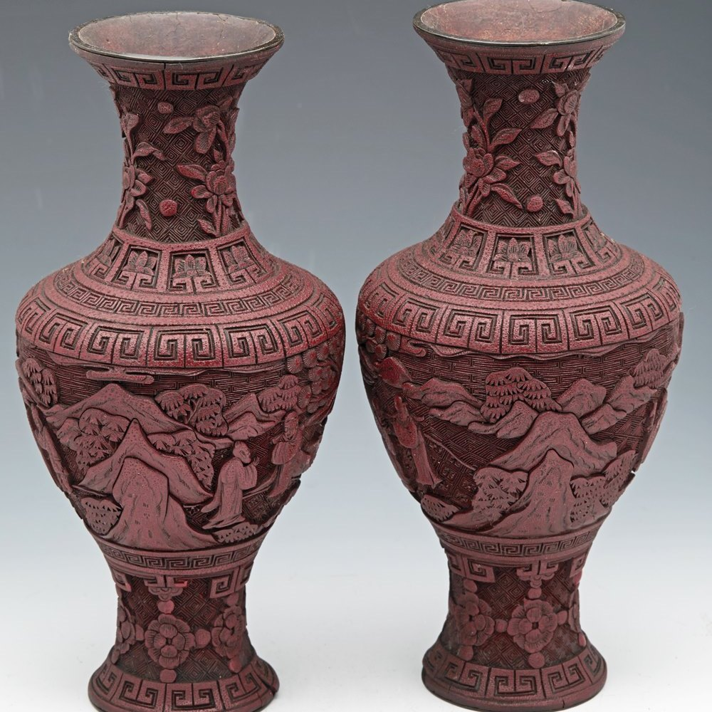 CINNABAR VASES 18/19TH C. 18th or 19th Century