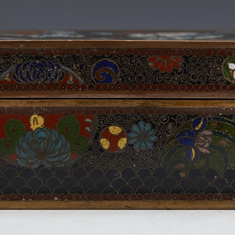 Stunning Antique Chinese Lidded Cloisonne Box 19th C.