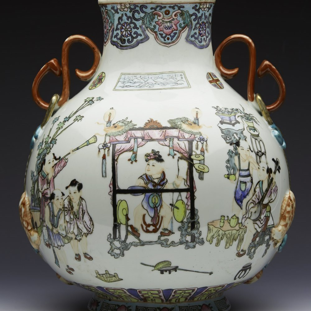 Large Chinese Qianlong Figural Painted Twin Handled Vase Republic 20th C.