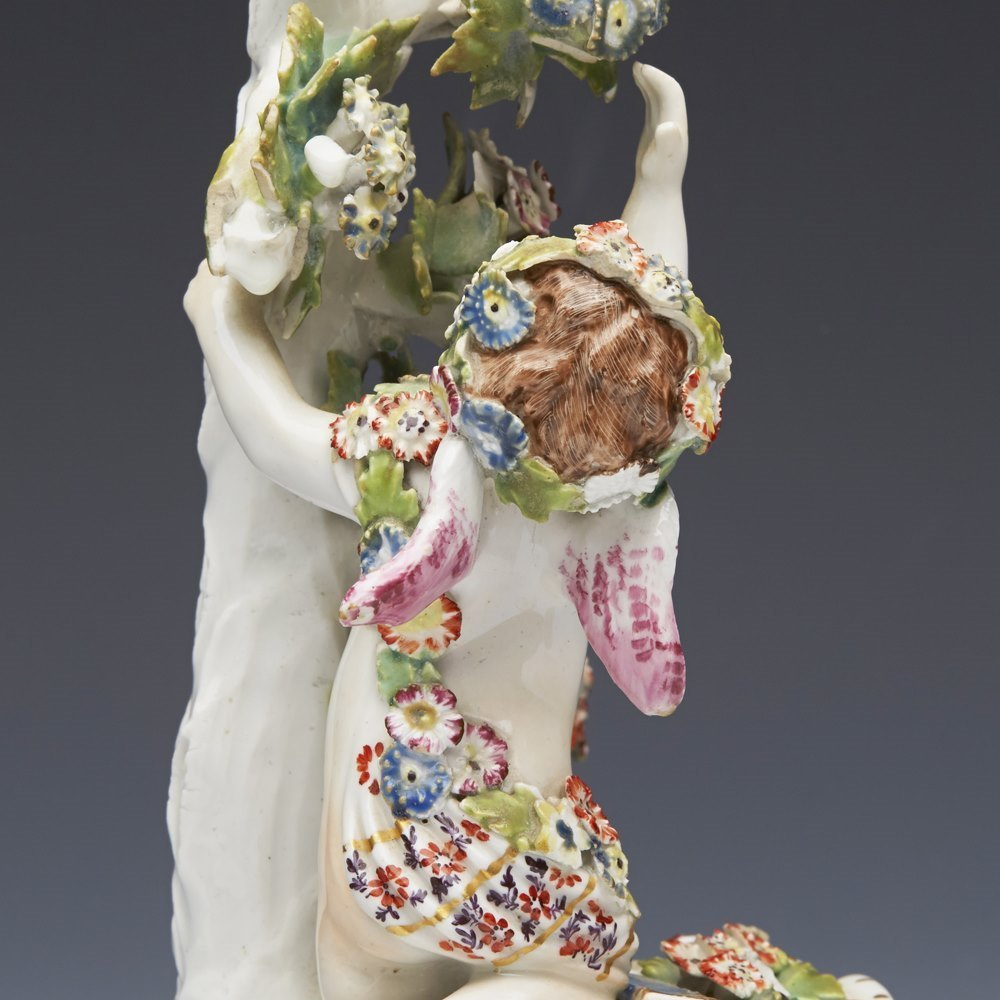 ANTIQUE BOW PORCELAIN PUTTI AND BIRD FIGURE C.1760 Circa 1760