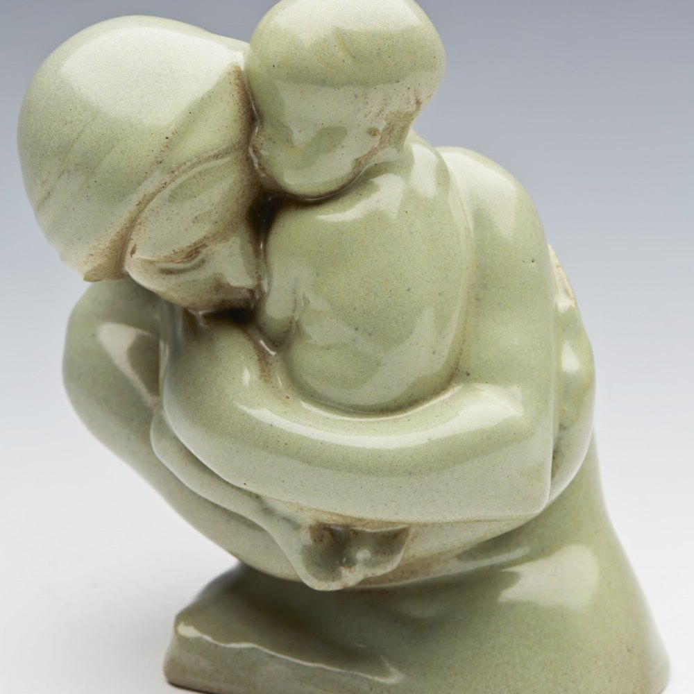 RARE EXCEPTIONAL STUDIO POTTERY MOTHER & CHILD SCULPTURE BY CHRISTINE Gregory 1965