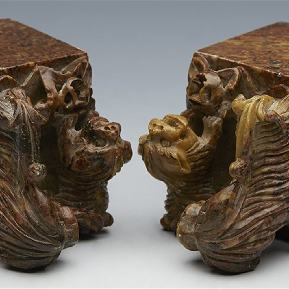 PAIR ANTIQUE CHINESE HARD STONE SEALS WITH DOG OF FO AND PUP C.1890