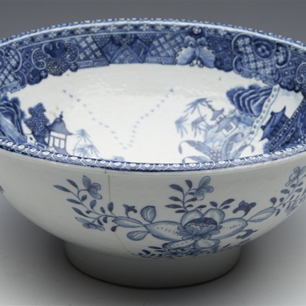Exceptional Antique Chinese Qianlong Basin Shaped Blue & White Bowl Mid 18th C.