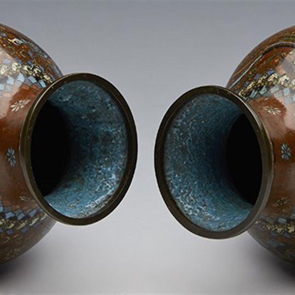 Superb Pair Antique Japanese Red Ground Cloisonne Vases Meiji 19th C.