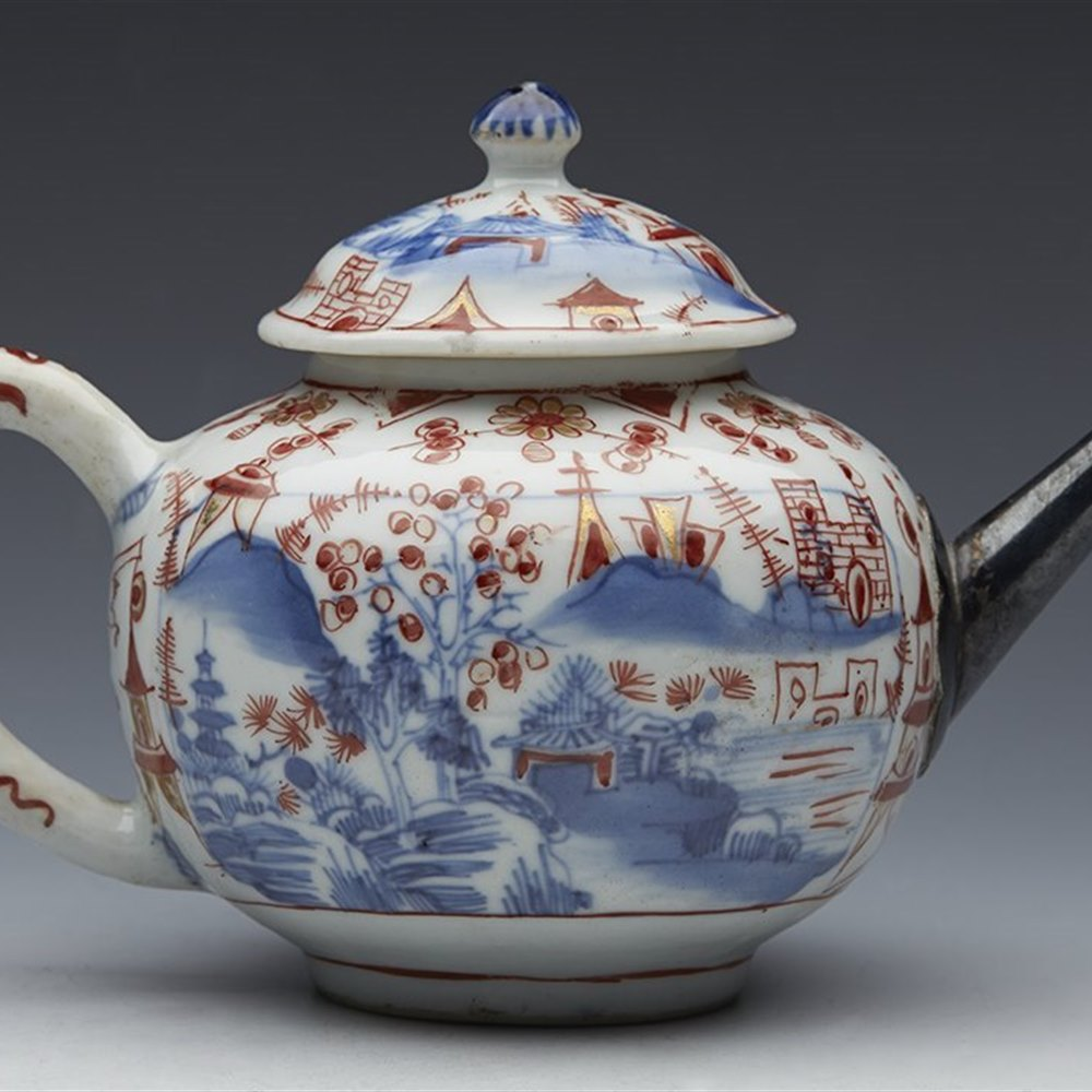 Suberb Antique Chinese Qianlong Rounded Lidded Landscape Teapot 18th C.