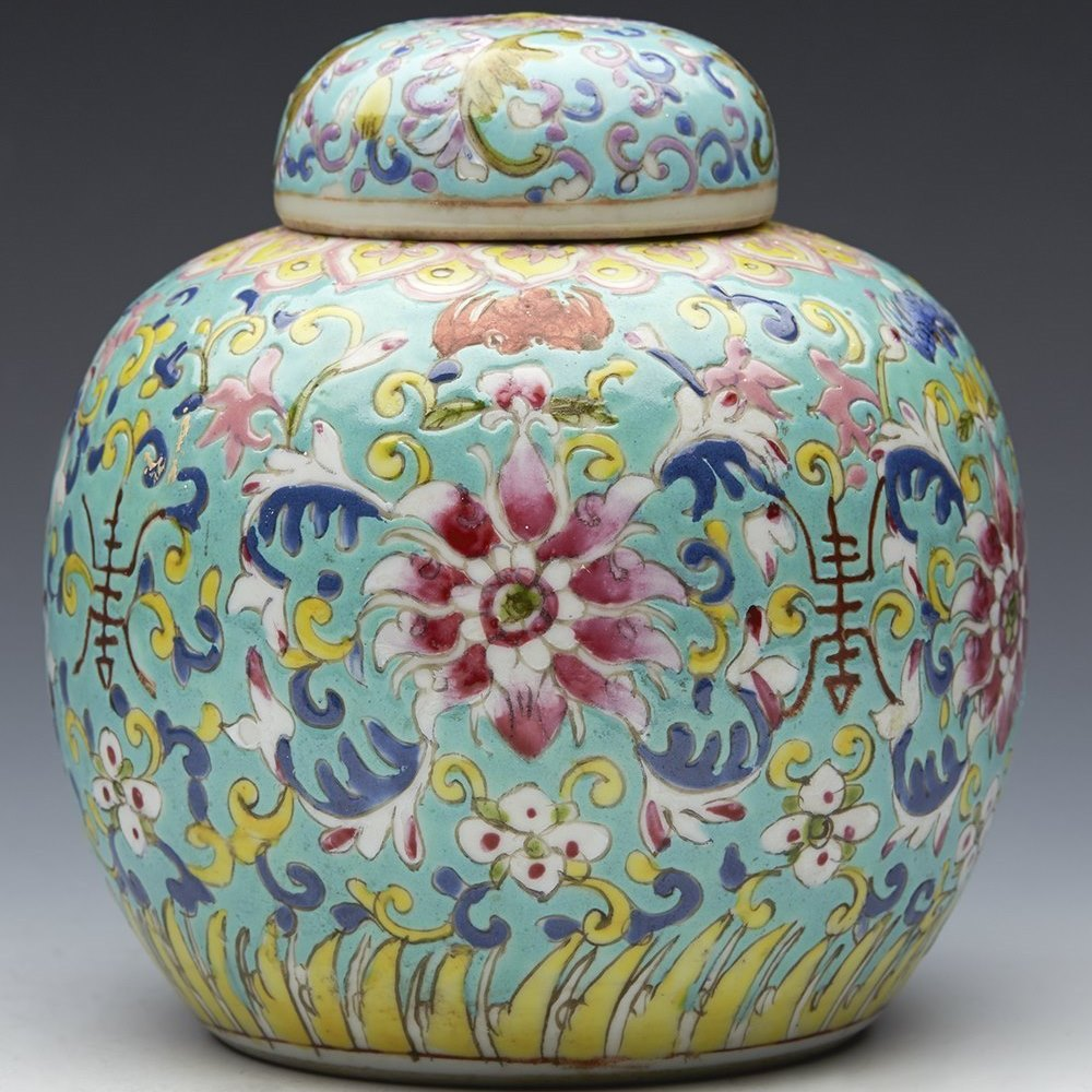 TURQUOISE GINGER JAR 19TH C. Dating from the latter 19th or possibly early 20th century