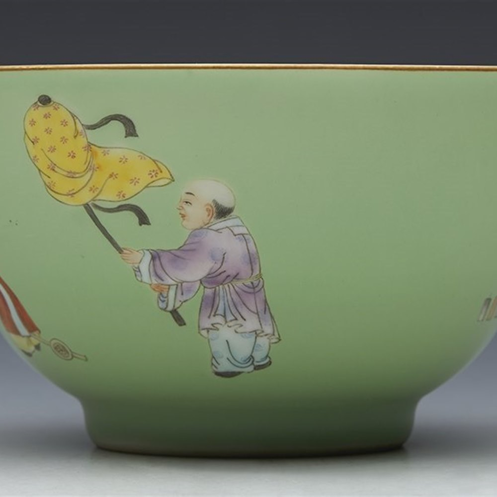 REPUBLIC CELADON GROUND BOWL Qianlong mark but believed to date from the Republic period circa 1930