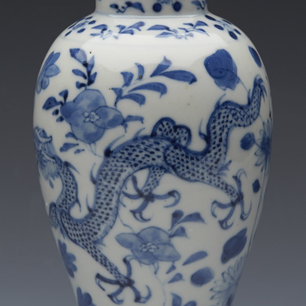 BALUSTER LIDDED VASE 19TH C. Kangxi mark but believed to date from the 19th century