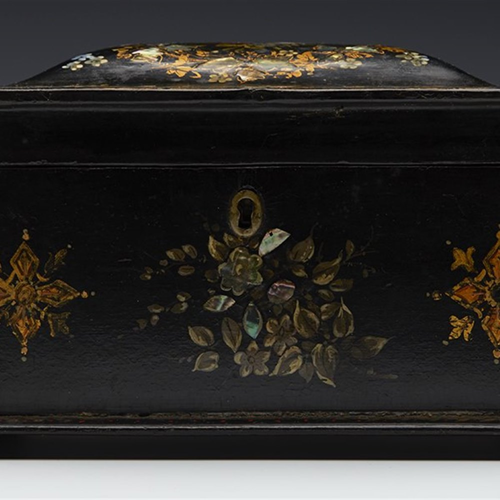 INLAID PAPIERMACHE TEA CADDY Believed early to mid 19th century