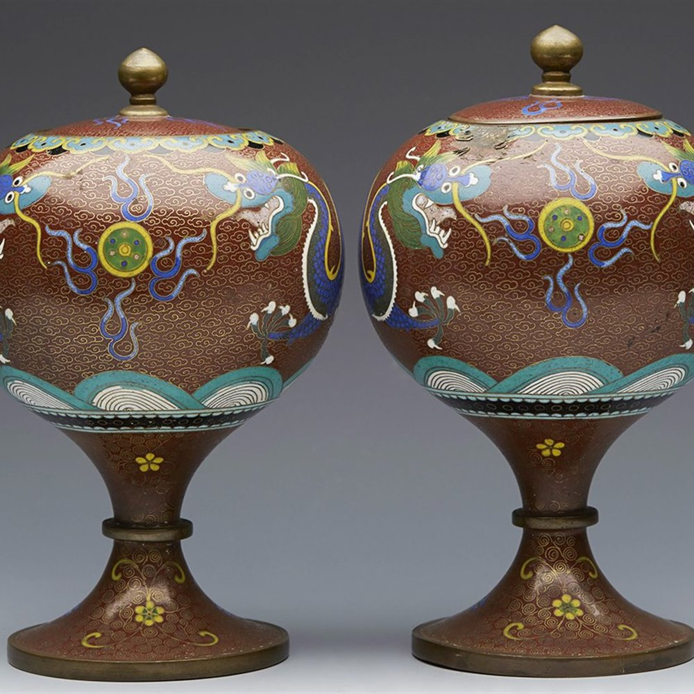 Stylish Pair Antique Chinese Or Oriental Cloisonne Dragon Pedestal Lidded Jars c.1900