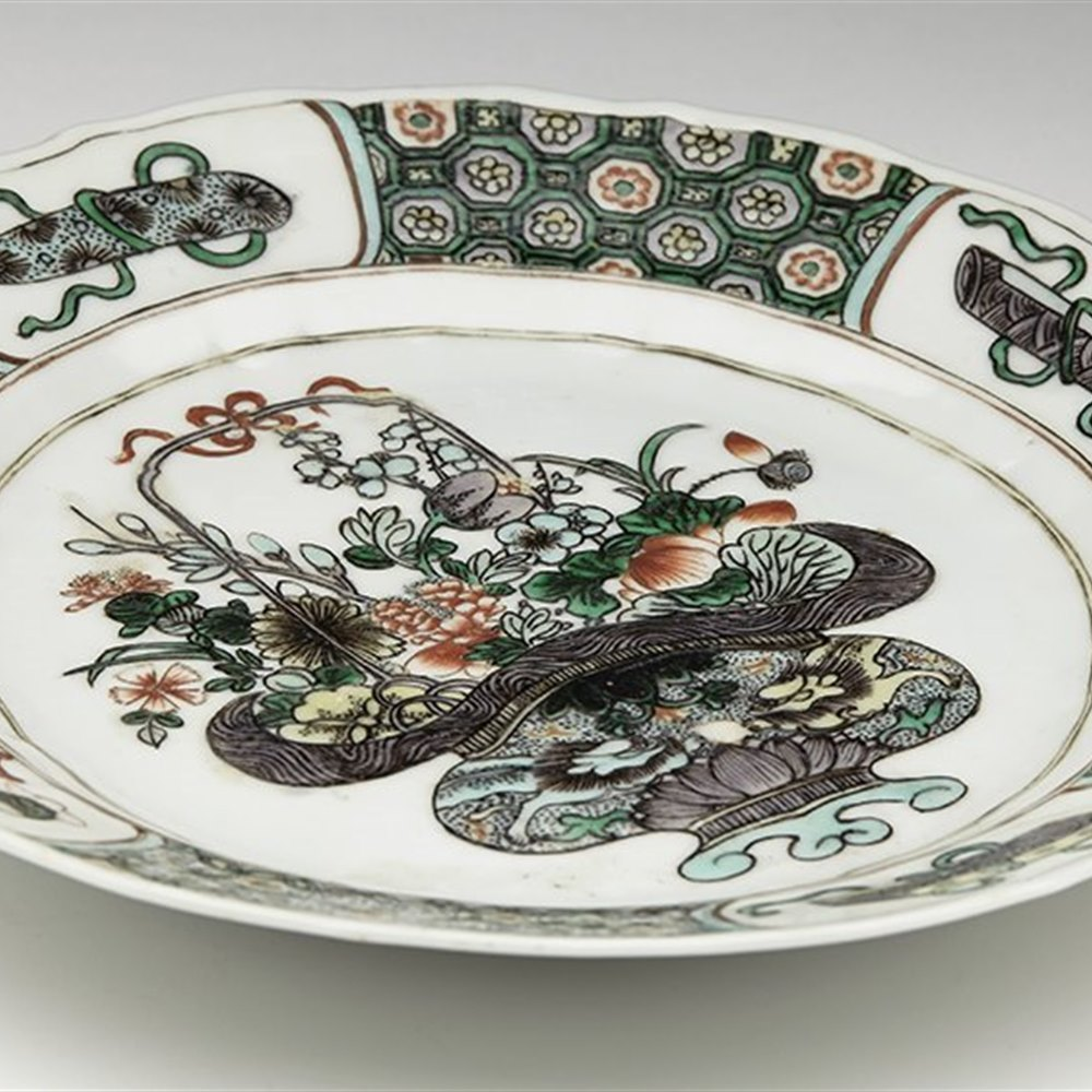 CHINESE PLATE 19TH C. Kangxi design but probably later 18th or 19th century