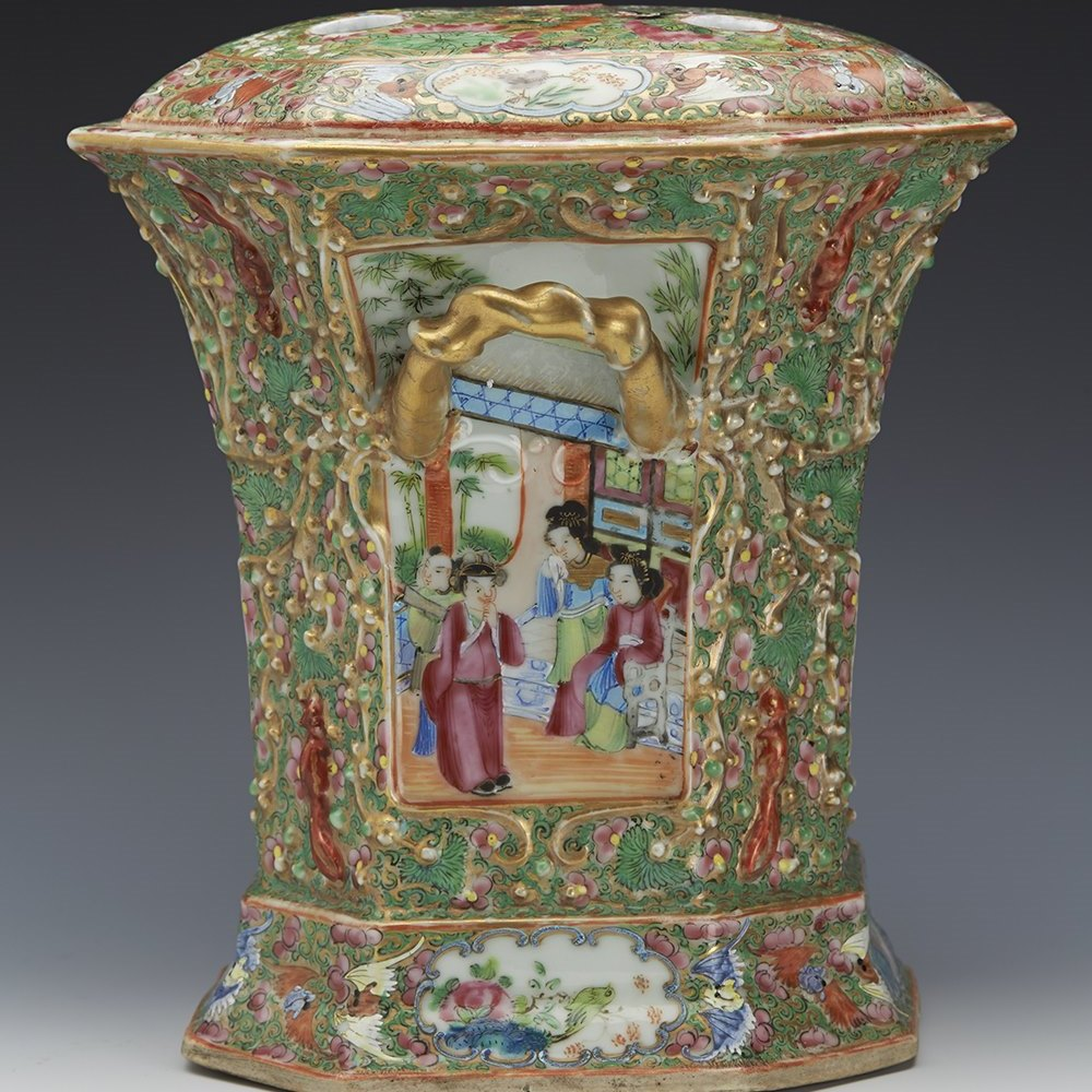 CHINESE CANTON BOUGH POT 19th century
