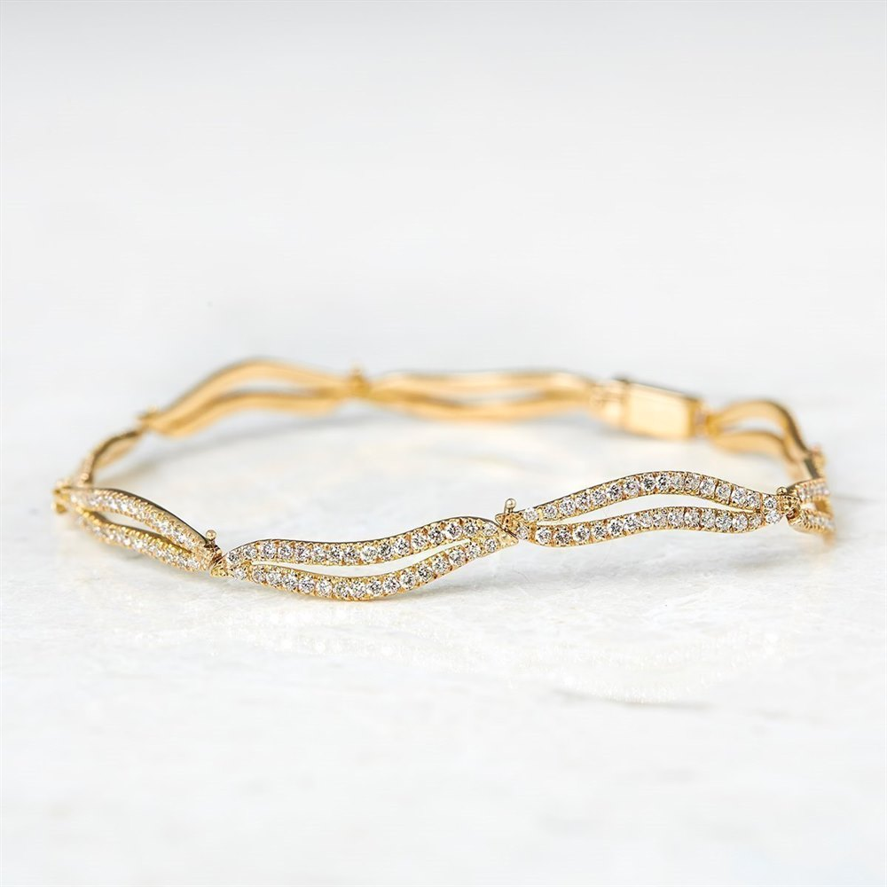 Diamond 18k Yellow Gold 2.56ct Diamond Wavy Link Bracelet