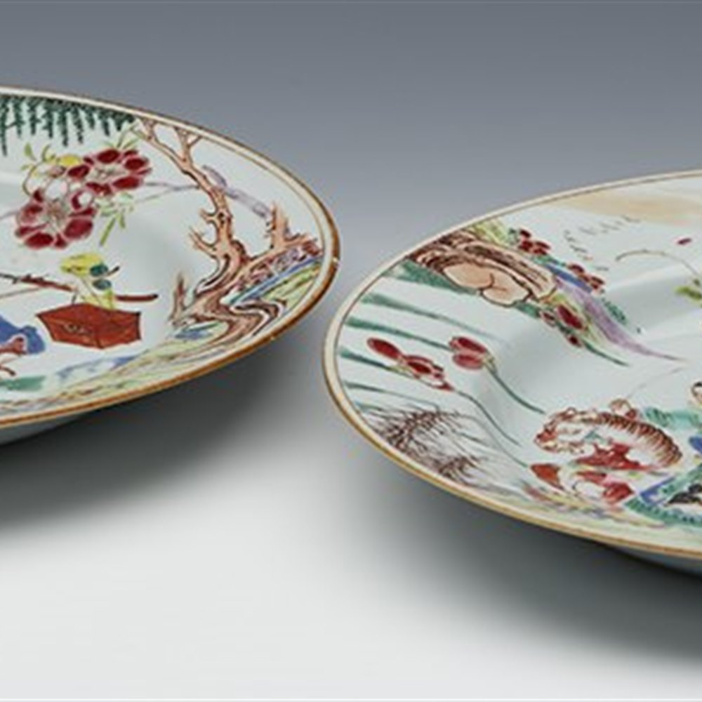 CHINESE EXPORT PLATES 1723-35 Yongzheng period dating 1723 – 1735