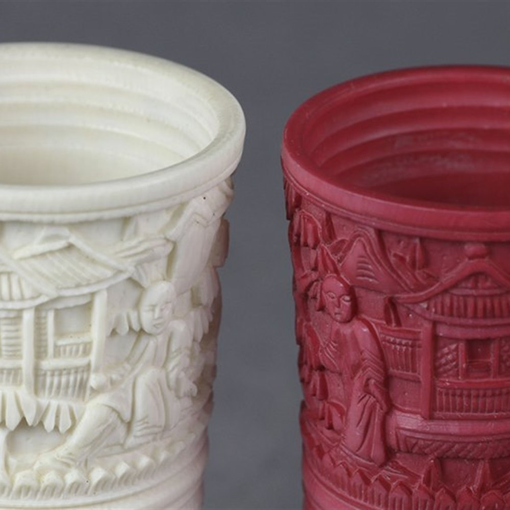 CHINESE CANTON DICE SHAKERS 19th century