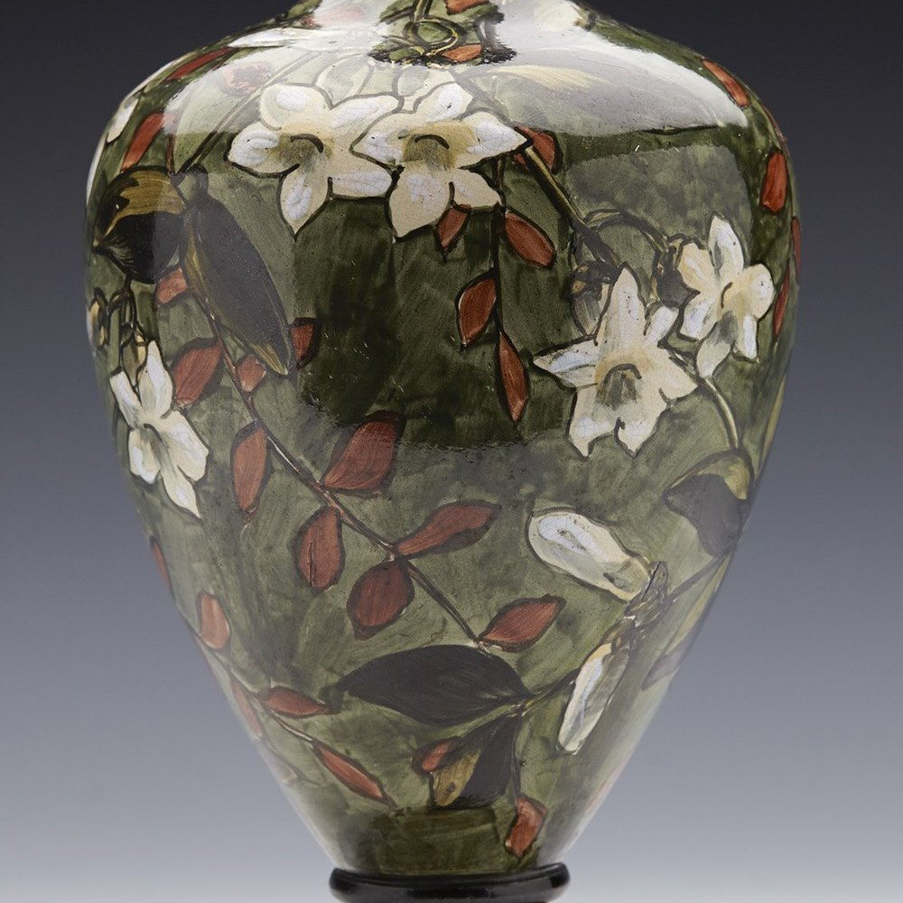 Stunning Antique Doulton Lambeth Faience Floral Painted Vase Mary Capes 1877