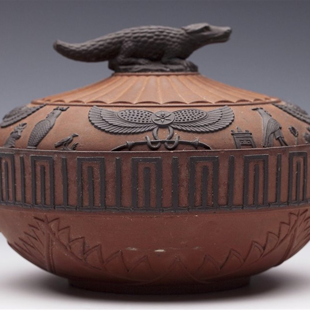 Wedgwood Egyptian Revival Rosso Antico Lidded Bowl C.1805