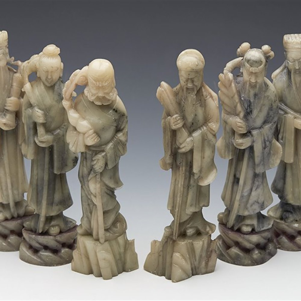 Superb Antique Chinese Set Eight Carved Hardstone Immortal Figures 19th C.