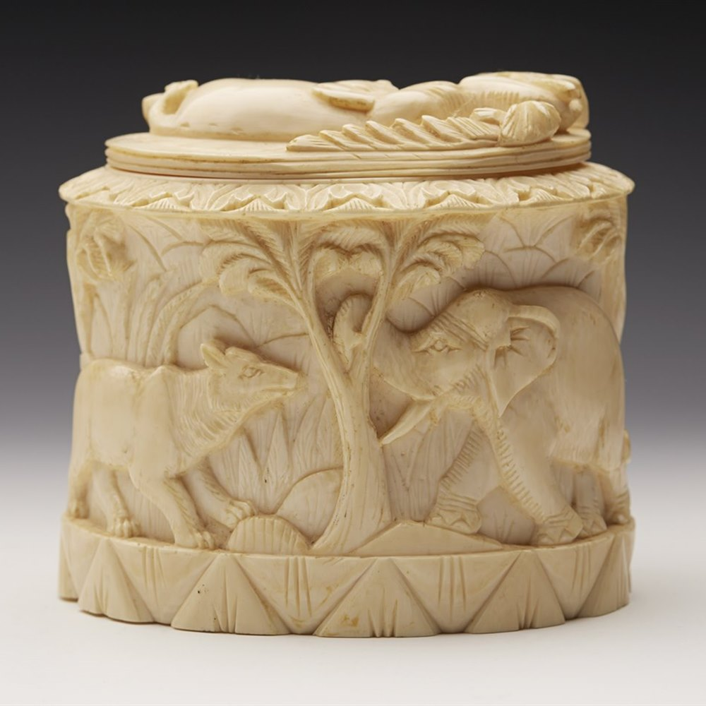 Antique carved indian ivory lidded pot with animals th c