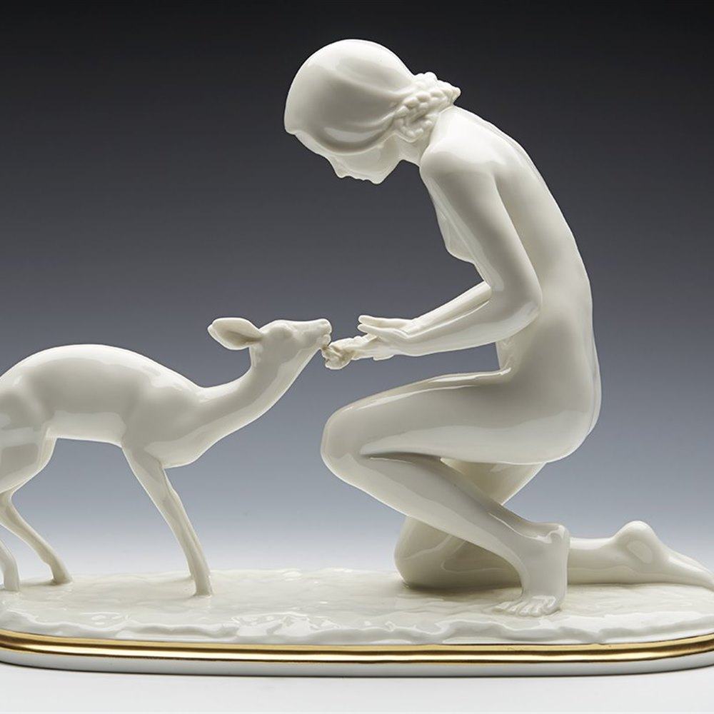 Stunning Hutschenreuther Art Deco And Deer Figure By G Werner c.1938-55