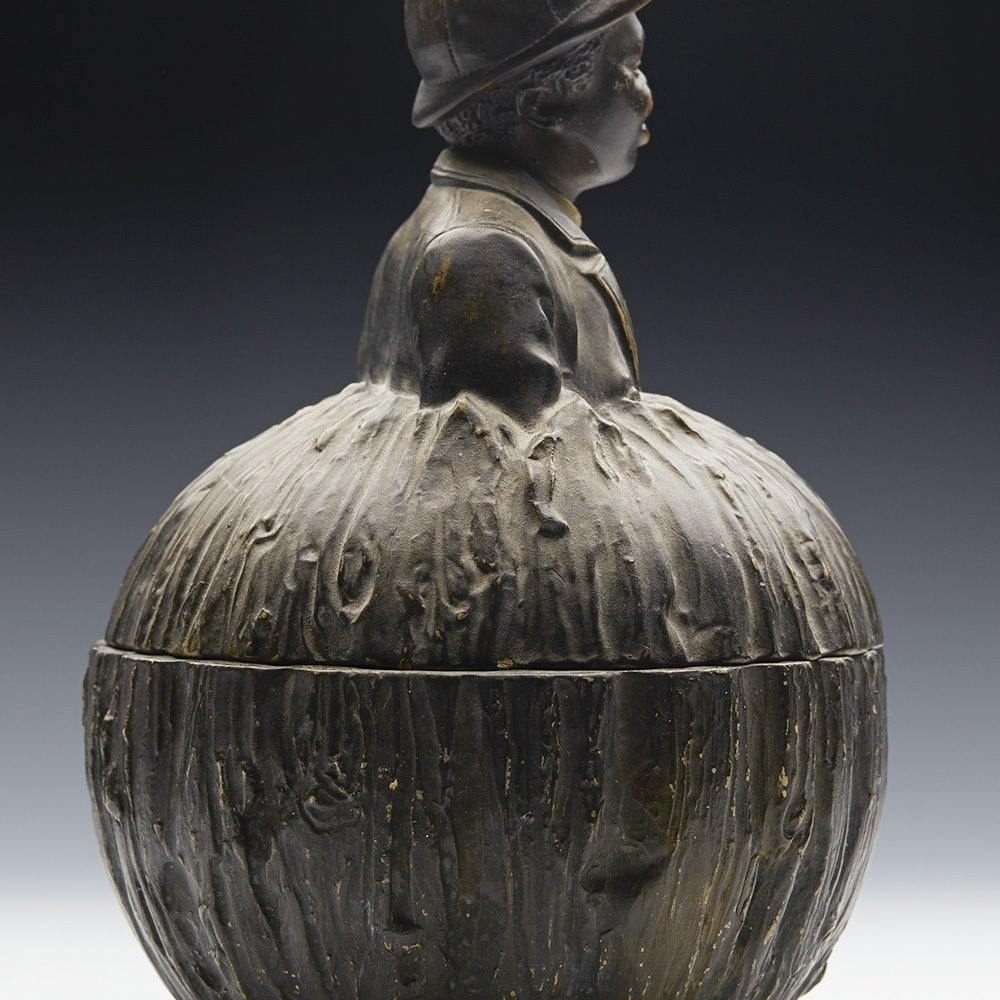 BLACKAMOOR LIDDED TOBACCO JAR 19TH C. 19th Century