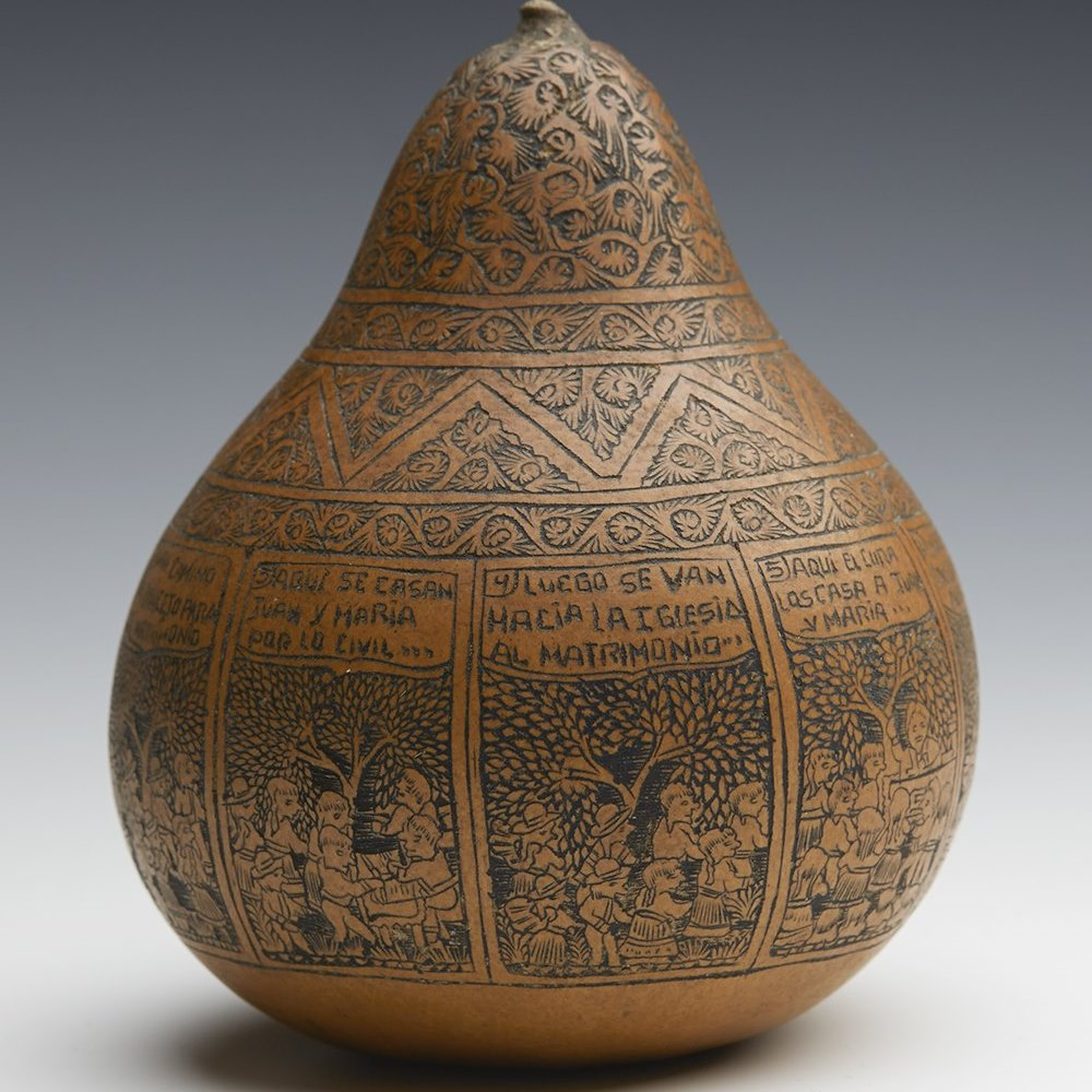 SOUTH AMERICAN CARVED GOURD 19/20TH C. Late 19th or 20th Century