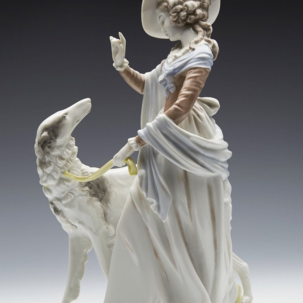 Stunning Rosenthal Porcelain Lady With Borzoi Figure By Gustav Oppel c.1956