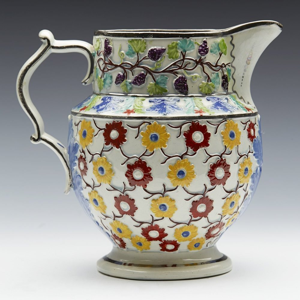 FLORAL PEARLWARE JUG EARLY 19TH C. Early 19th century