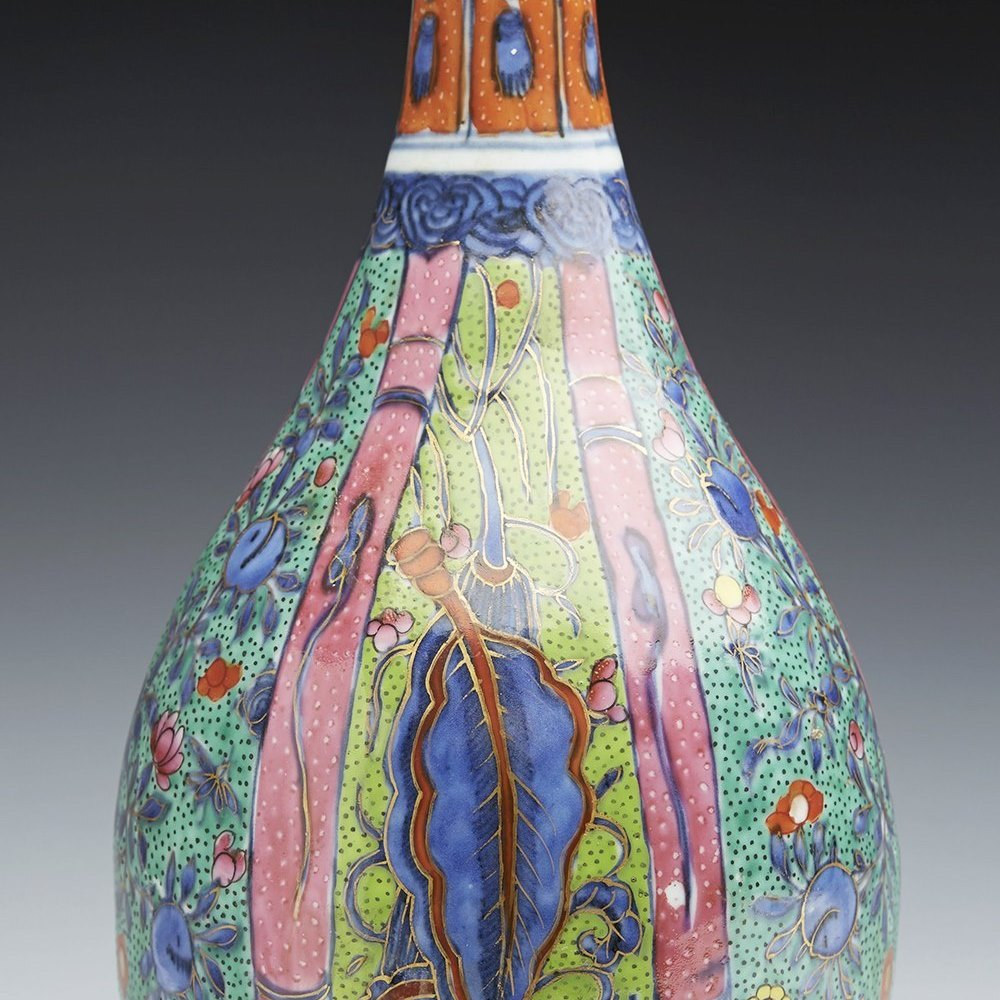 Rare & Stunning Antique Chinese Wanli Overpainted Bottle Shaped Vase 1573-1619