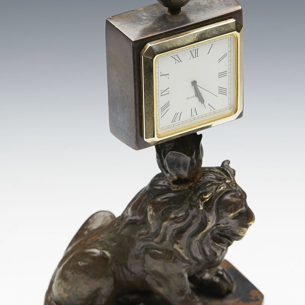 BRONZE DESK CLOCK Believed latter 20th or early 21st Century