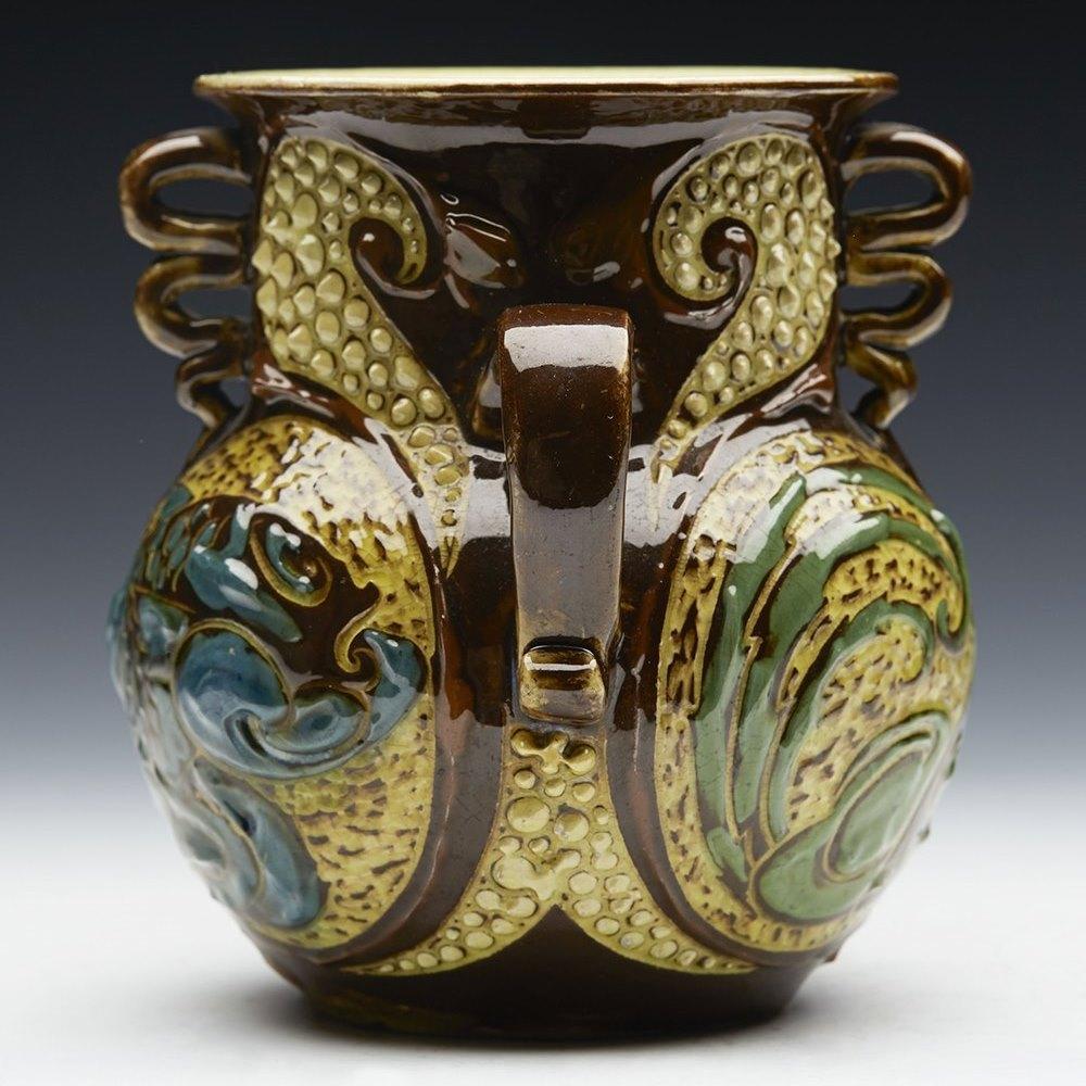 Arts & Crafts Ch Brannam Handled Vase With Fish By F Braddon 1898