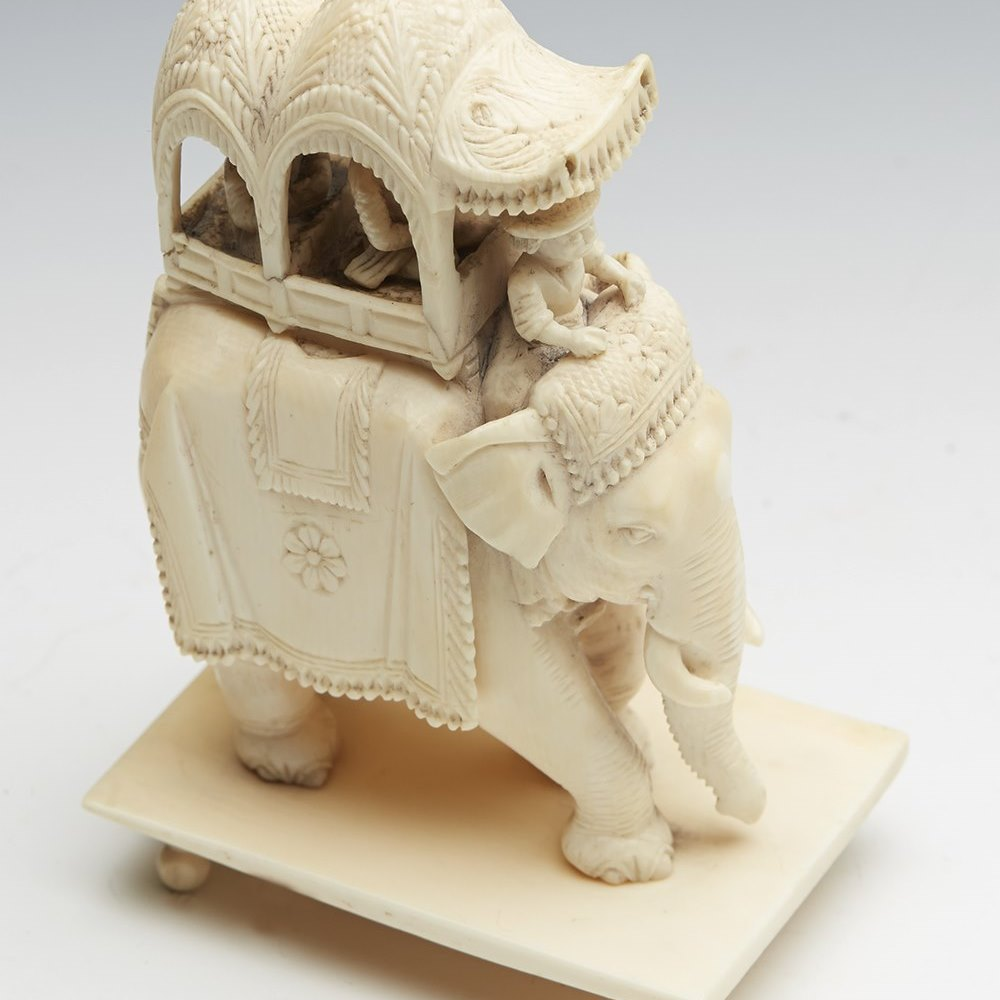 Finely Carved Antique Indian Ivory Elephant With Howdah 19th C.