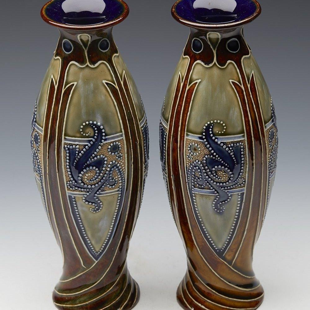 Exceptional Pair Art Noveau Doulton Lambeth Vases By Frank Butler c.1895