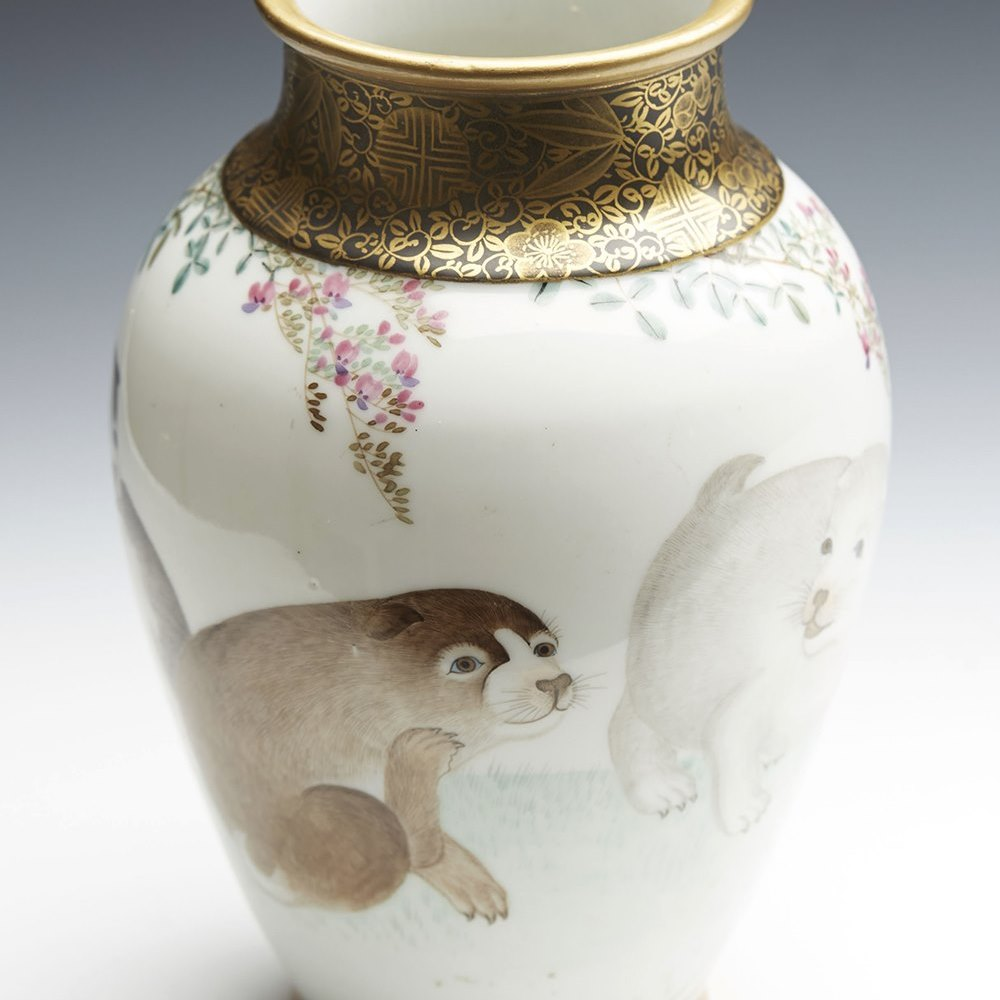 Superb Antique Finely Painted Japanese Meiji Seto Vase With Puppy Dogs 1868-1912