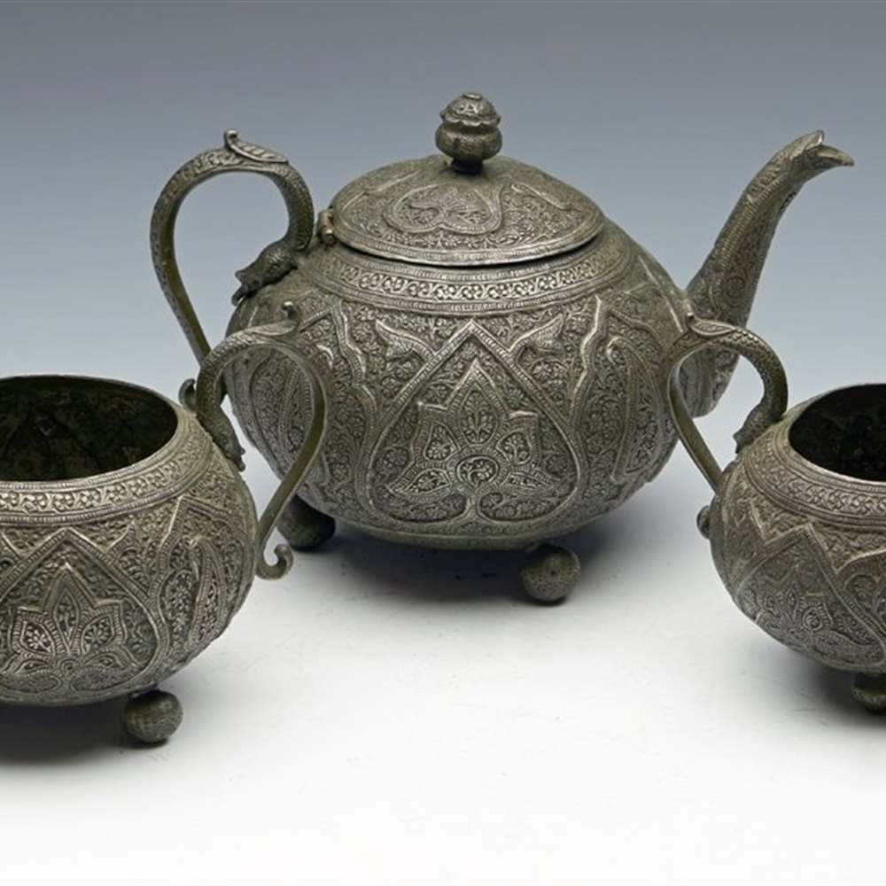 INDIAN METALWORK TEA SET 19TH C. 19th Century, possibly early