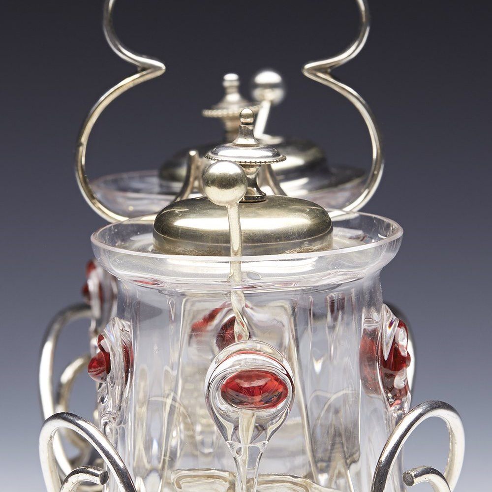 Stunning Art Nouveau Silver Plated And Glass Preserve Stand c.1905